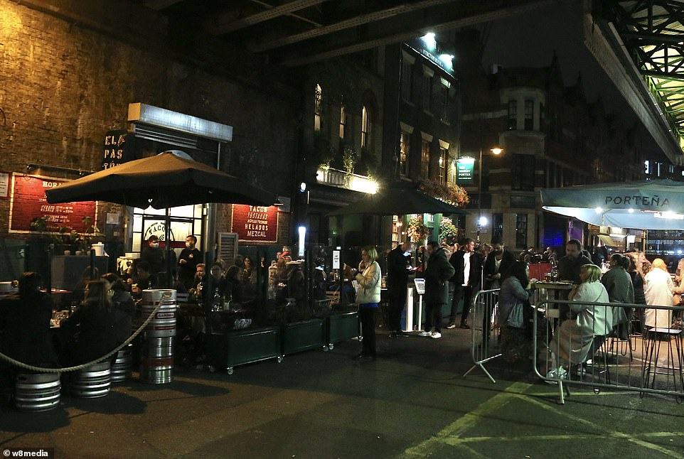 Tables were filled and hopefulls queued up at the door as people swarmed across borough market in London on Saturday