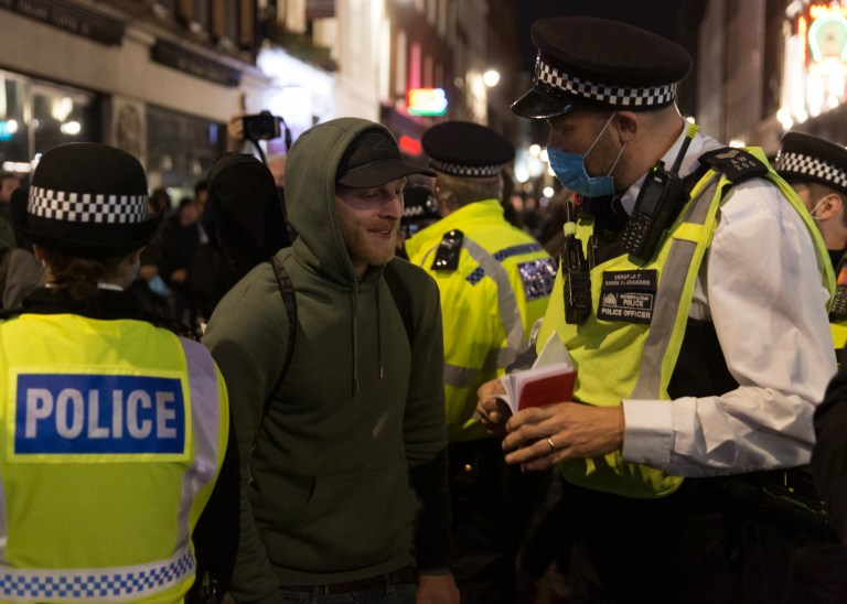 Revellers on the night before the tier 2 London lockdown in Soho Featuring: Atmosphere Where: London, United Kingdom When: 17 Oct 2020 Credit: Mario Mitsis/WENN